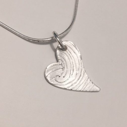 heart fingerprint pendant memorial jewellery