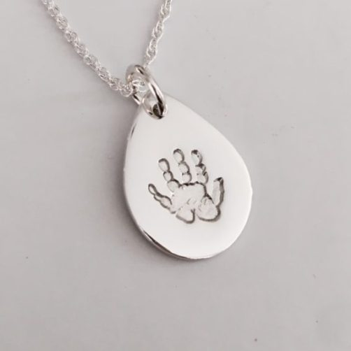 personalised Handprint Silver Pendant
