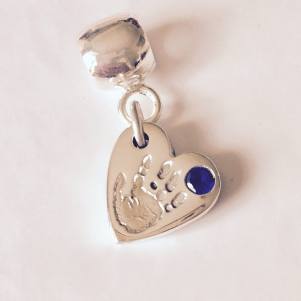 Handprint Bracelet Charm with Blue Ston