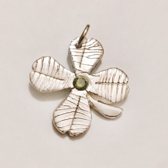 Four Leaf Clover Fingerprint Pendant