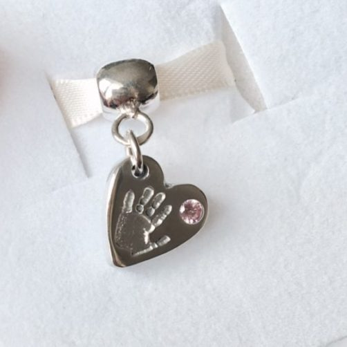 Personalised Handprint Charm with Pink Stone