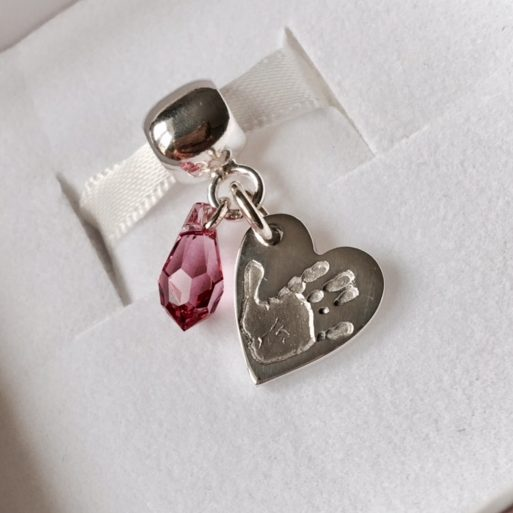Heart Handprint Charm with Swarovski Gem