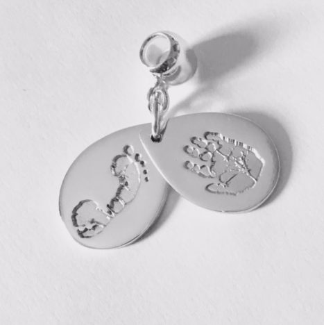 teardrop hand and footprint pendant