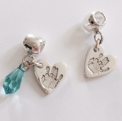 heart handprint charm with stone