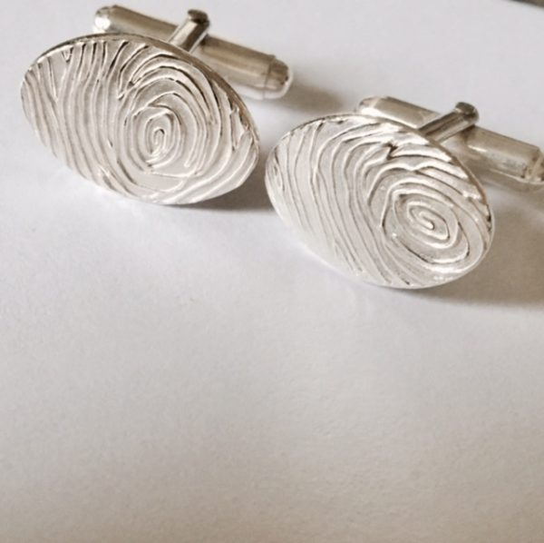 Modern Silver Fingerprint Cufflinks