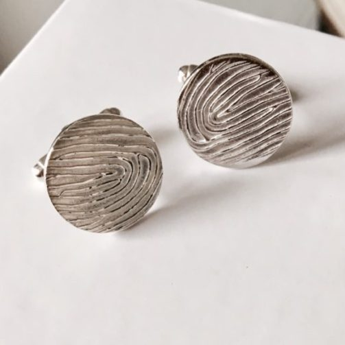 Silver Personalised Fingerprint Cufflinks