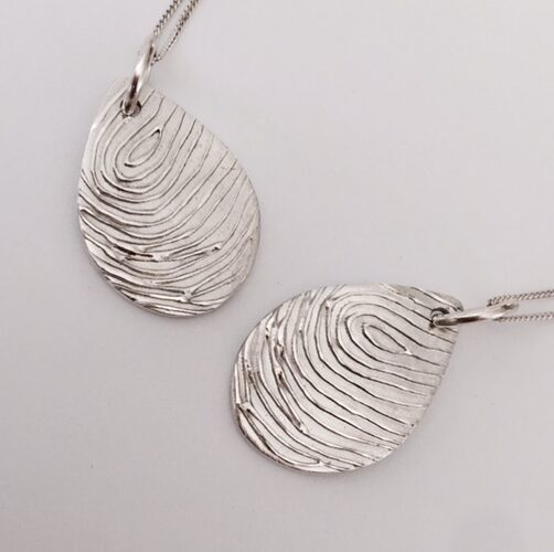 Teardrop Fingerprint Pendants