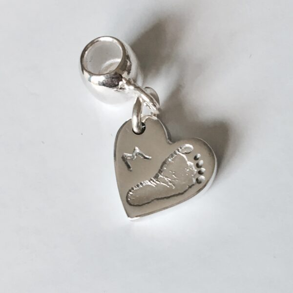 pandora personalised footprint heart charm