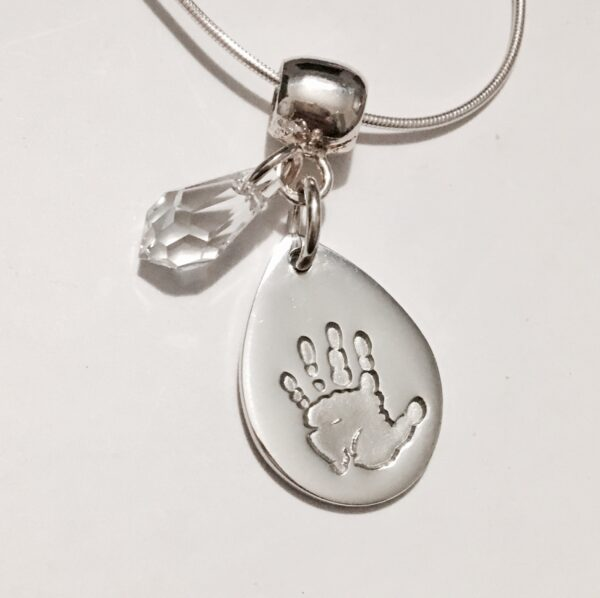 Teardrop handprint pendant