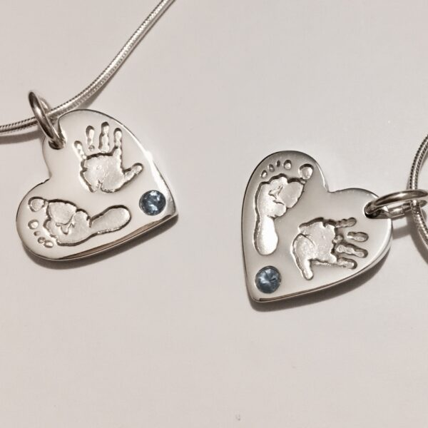 Hand and footprint heart pendant with blue stone