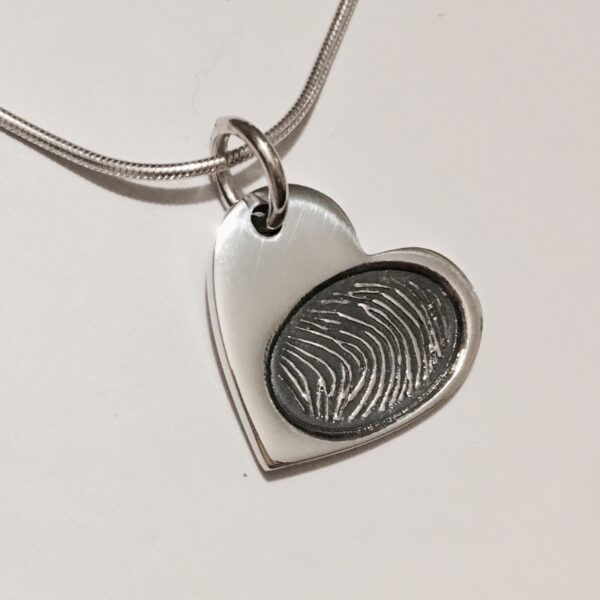 Memorial Jewellery Fingerprint Heart pendant