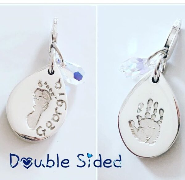 Double sided tear drop hand and footprint pendant