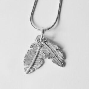 Feather fingerprint pendant