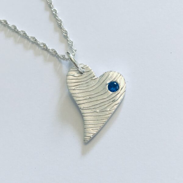 Pure Silver Heart Fingerprint Pendant with blue stone