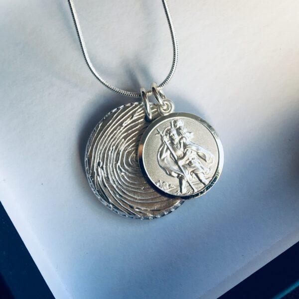 St Christopher and Fingerprint Silver Pendant
