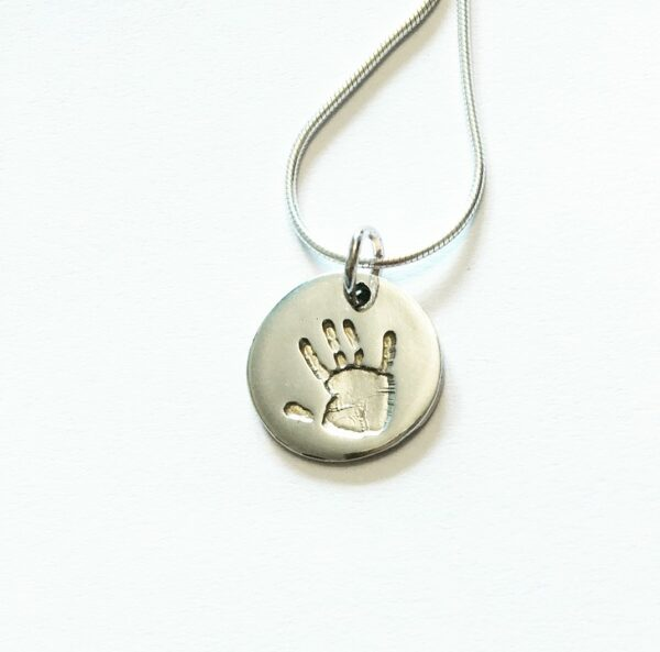circle handprint pendant silver