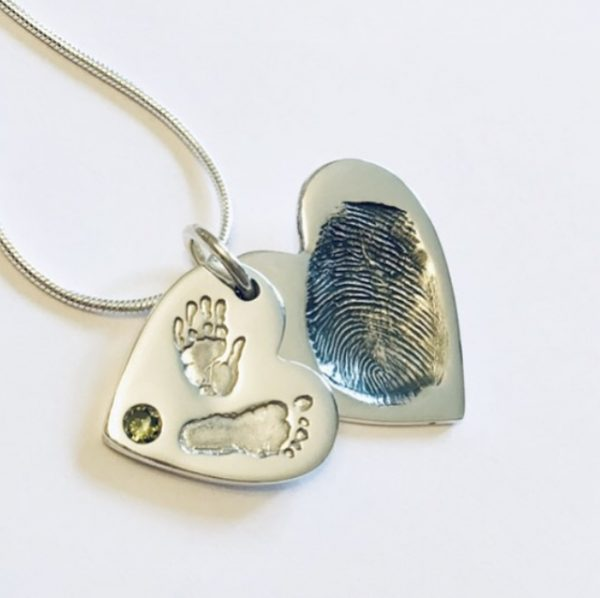 Double heart necklace|handprint jewellery| footprint jewellery| fingerprint heart necklace