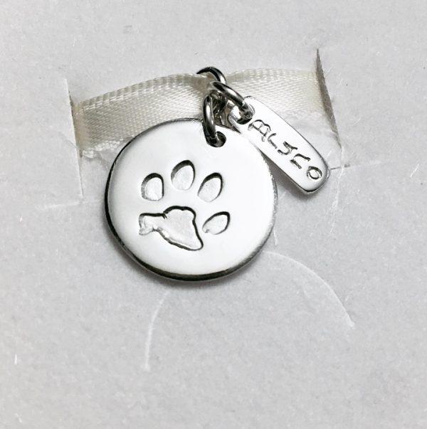 silver circle paw print pendant