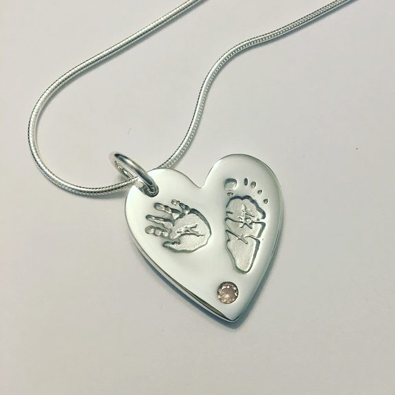 mothers day gift ideas, hand and footprint heart pendant with pink stone