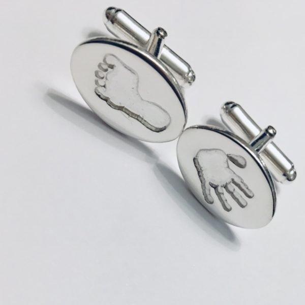 silver oval hand and footprint cufflinks, gifts for men