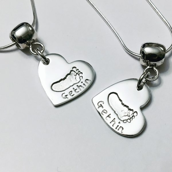 silver heart footprint necklace, footprint pendant