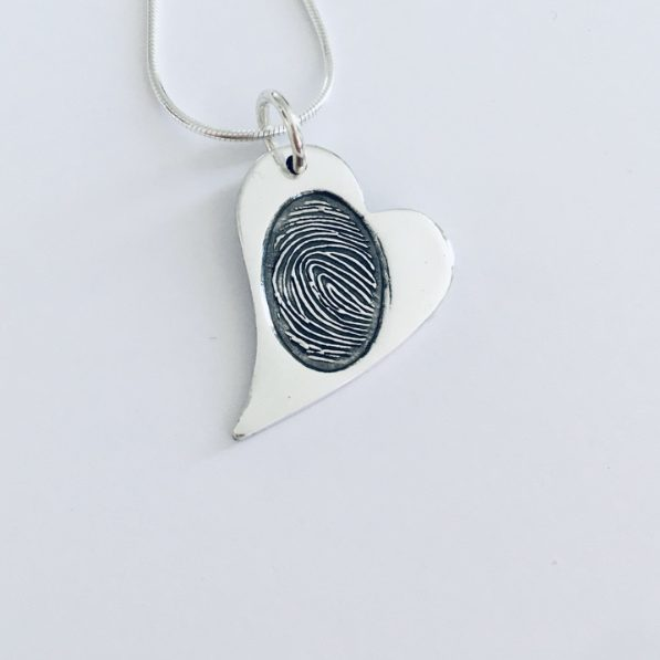 heart fingerprint silver pendant