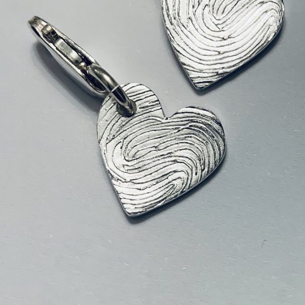 Heart Fingerprint Bracelet Charm