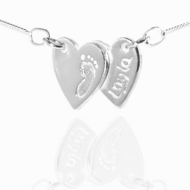 Double heart footprint jewellery pendant