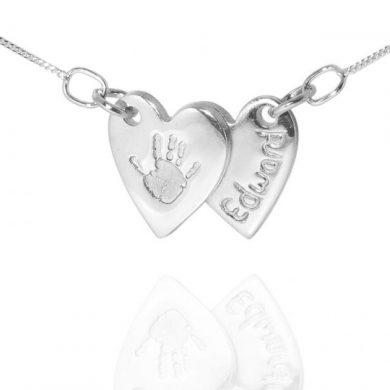 double heart handprint jewellery pendant