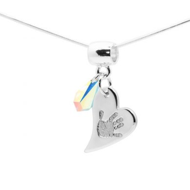 personalised heart handprint pendant with swarovski gem