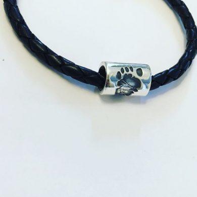 mens personalised footprint gift, footprint bracelet bead