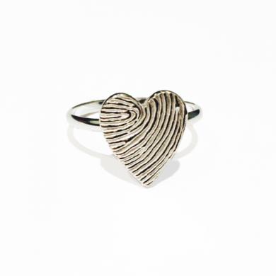 Heart Fingerprint Ring, memorial jewellery