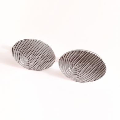 Oval fingerprint cufflinks