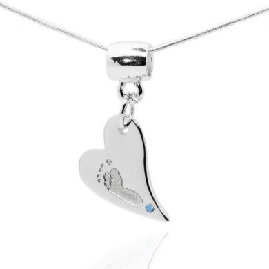 footprint Heart Pendant with blue stone