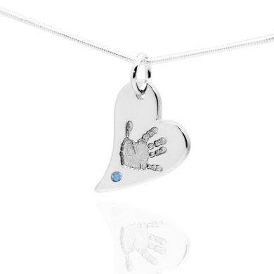 Handprint Heart Pendant with blue stone